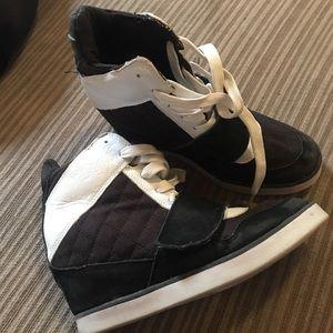 Black wedge sneakers sz 7.5
